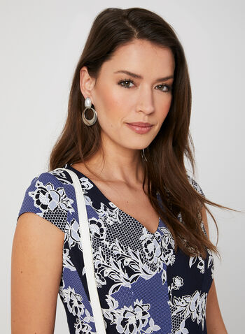 Textured Floral Print Dress, Blue, hi-res