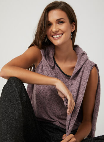 Sleeveless Heather Knit Top, Multi, hi-res