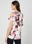 Floral Print Cold-Shoulder Top, White, hi-res