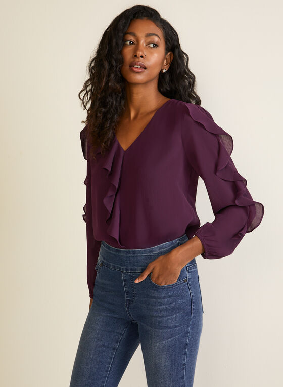 Puffed Sleeve Rufle Detail Top, Purple