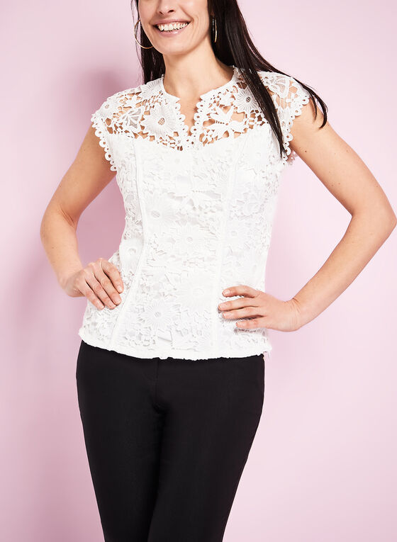 Drop Shoulder Embroidered Lace Top, Off White, hi-res