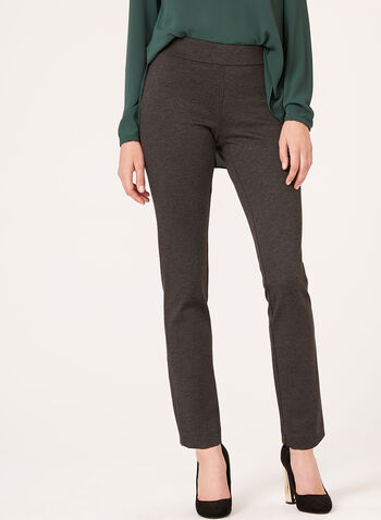 Pull-On Slim Leg Pants, Grey, hi-res