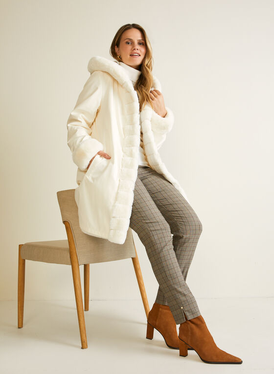 Reversible Faux Fur Coat, Off White