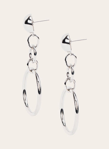 Link Dangle Earrings , Silver, hi-res