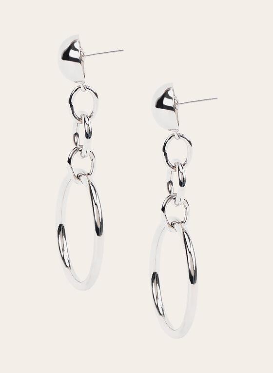 Boucles d'oreilles à pendants anneaux, Argent, hi-res