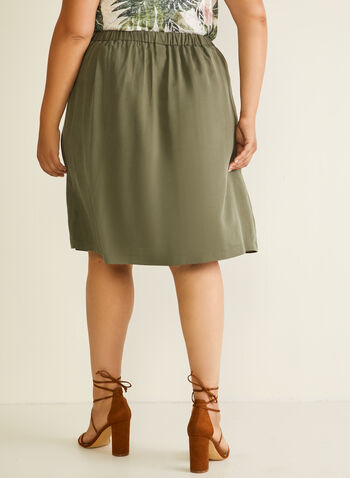 Button Detail Tencel Skirt, Green,  skirt, tencel, button details, straight, pull-on, spring summer 2020