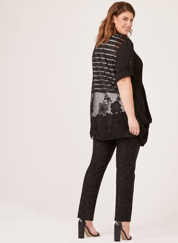 Lindi - Buttoned Front Accordion Pleat Blouse, Black, hi-res