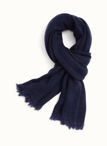 Foulard pashmina en acrylique, Bleu, hi-res