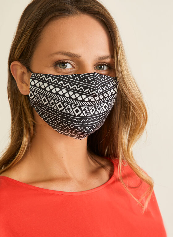 Geometric Print Mask With Filters, Black