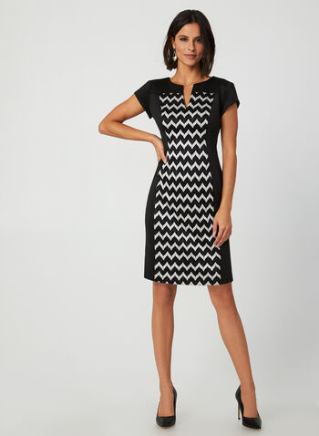 Chevron Print Dress, Black,  fall winter 2019, scuba, chevron print, sheath, cocktail dress