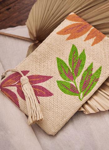 Pochette en papier à motif floral, Rose,  accessoires, pochette, fermeture zippée, pompon, floral, fleuri, printemps été 2021