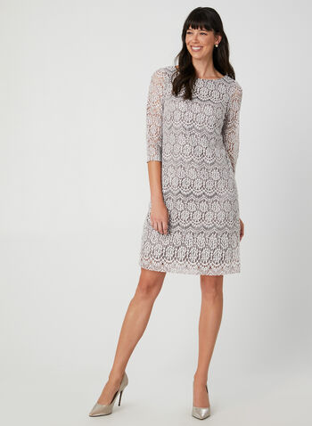 Sequin Lace Dress, Brown, hi-res