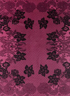 Floral Lace Print Square Scarf , Pink, hi-res