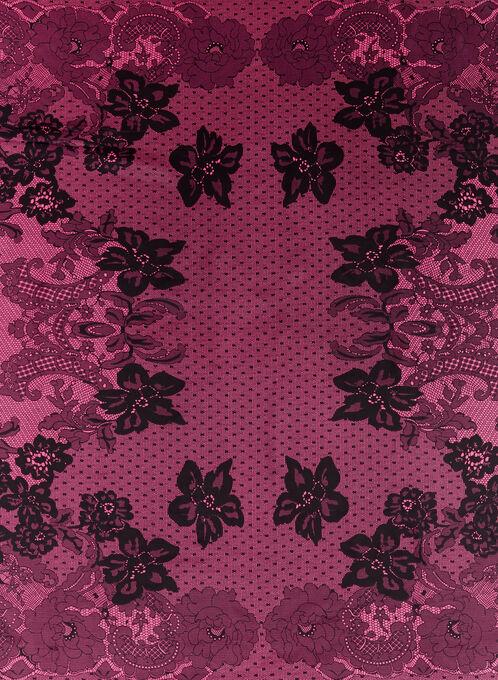 Foulard carré motif dentelle et fleurs, Rose, hi-res