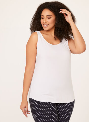 Scoop Neck Tank Top, White, hi-res