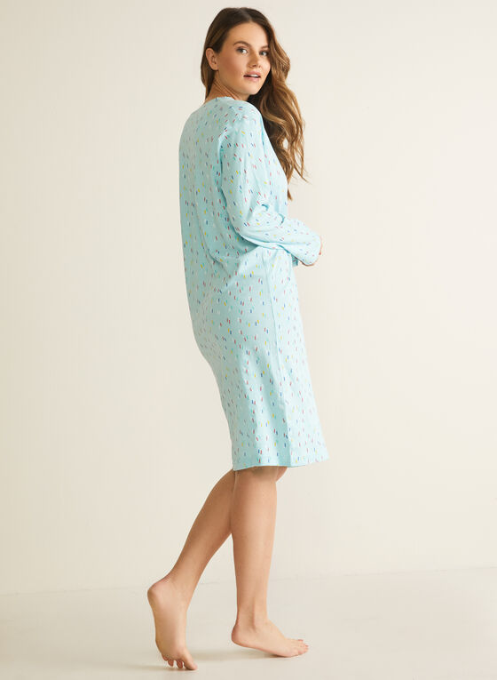 Confetti Print Nightgown, Blue