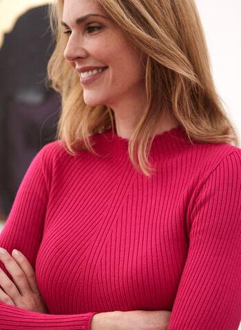 Pull à col montant à frisons, Violet,  automne hiver 2020, pull, haut, tricot, chandail, tricot côtelé, tricot texturé, col montant, manches longues
