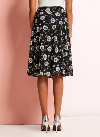 Floral Print Flared Trapeze Skirt, Black, hi-res