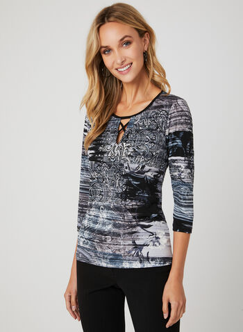 Mixed Media Print Jersey Top, Blue, hi-res