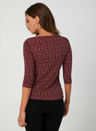 3/4 Sleeve Bow Detail Top , Red