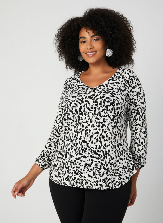 Balloon Sleeve Top, White, hi-res