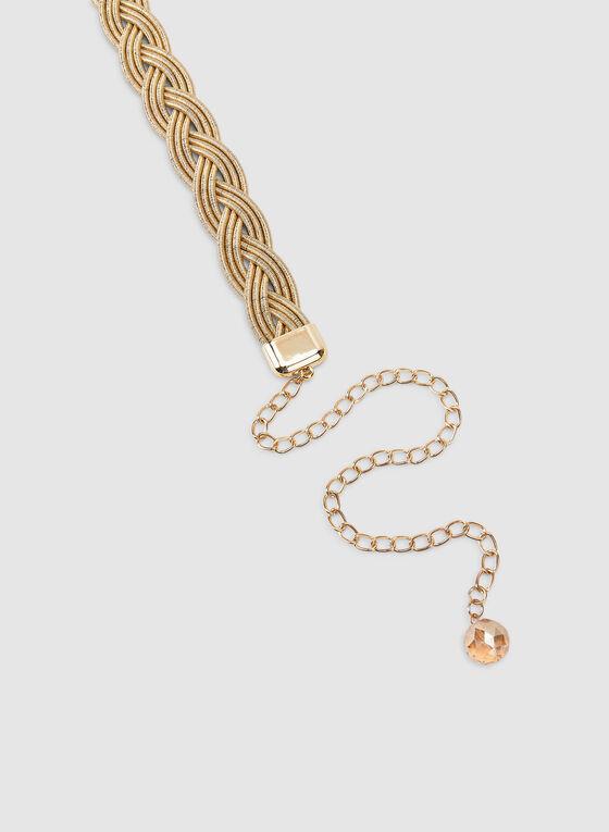Metallic Braided Belt, Gold