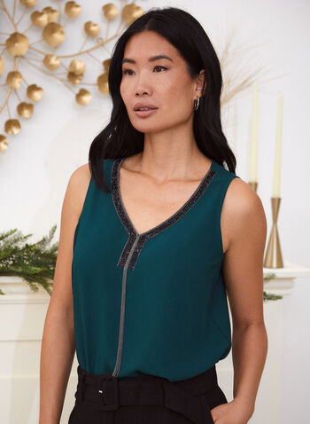 Sleeveless Jewelled Neck Blouse , Green,  fall winter 2020, V-neck, shimmers, sequins, jewel, metallic, sleeveless, wide straps, flowy