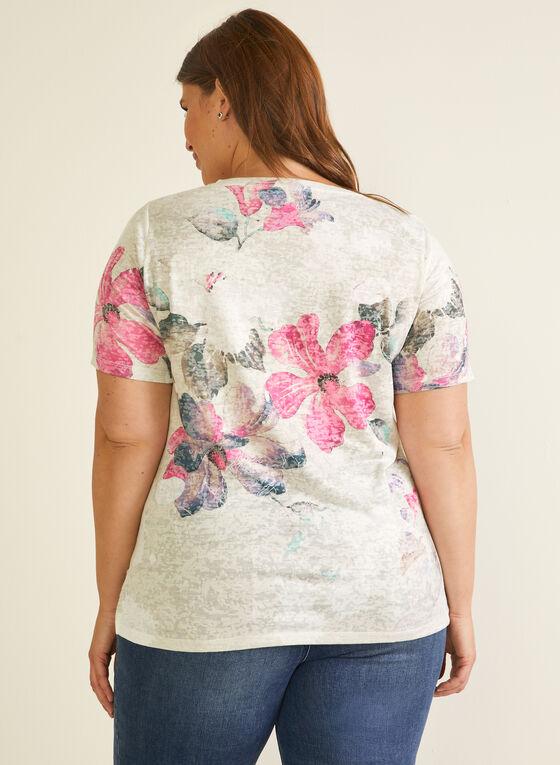 T-shirt fleuri à détails strass, Rouge