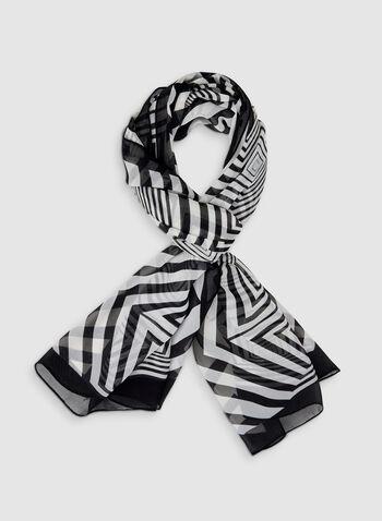 Foulard oblong abstrait, Noir, hi-res,  foulard, oblong, abstrait, illusion d'optique, automne hiver 2019
