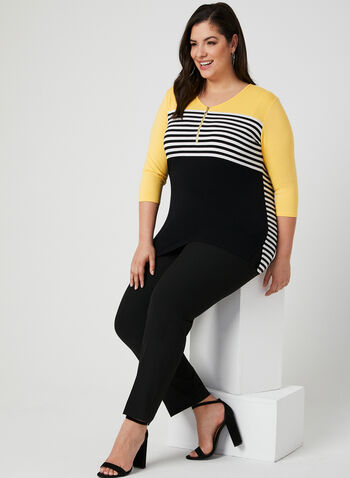 Colour Block Top, Black, hi-res