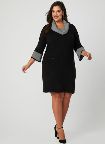 Chevron Print Knit Dress, Black, hi-res