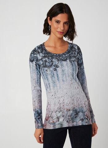 Vex - Haut en tricot à imprimés variés, Bleu, hi-res,  manches longues, tricot léger, cristaux, automne hiver 2019