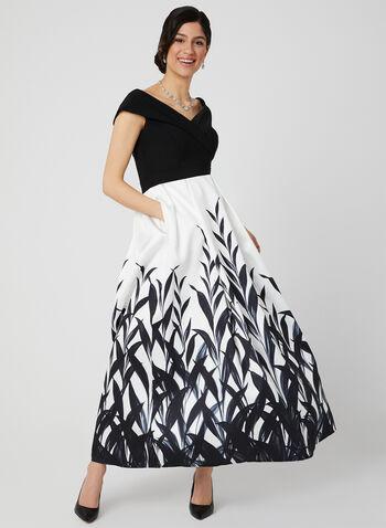 Robe deux tons avec jupe à feuilles, Noir, hi-res,  robe de bal, printemps 2019, robe longue, robe de soirée, épaules dénudées, cache-cœur, motif, manches courtes, cintré, contrastant