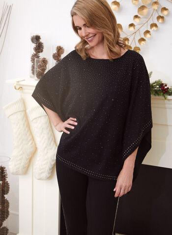 Embellished Poncho Sweater, Black,  sweater, poncho, knit, embellished, beads, studs, fall winter 2020