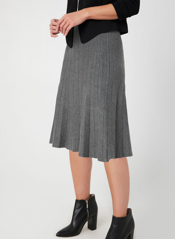 Jupe effet plissé en tricot, Gris, hi-res