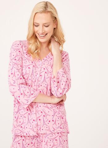 Bellina - Eiffel Tower Print Pajama Set, Pink, hi-res
