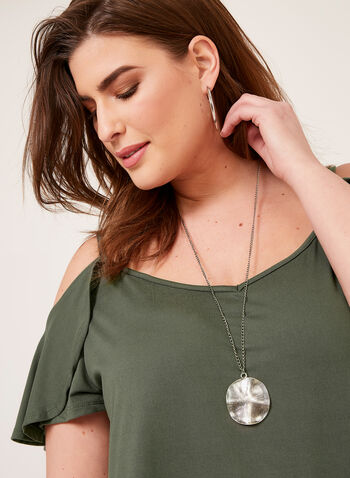 Enough About Me - Cold Shoulder V-Neck Tunic, Green, hi-res