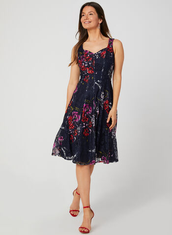 Floral Print Fit & Flare Dress, Blue, hi-res,  day dress, lace, floral print, sleeveless, sweetheart neckline, fit and flare, exposed zipper, fall 2019, winter 2019