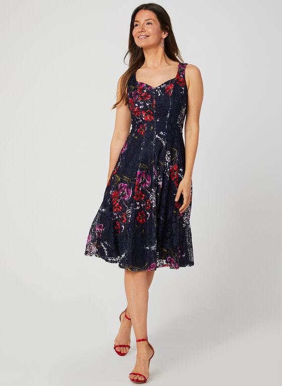Floral Print Fit & Flare Dress, Blue