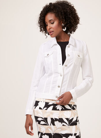 Denim Style Linen Jacket , White, hi-res