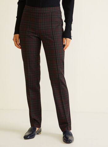 Tartan Print Slim Leg Pants, Red,  fall winter 2020, pants, pull-on, elastic waist, slim leg, pleats, tartan