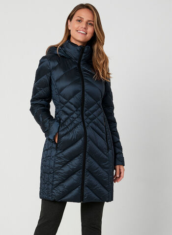 BCBGeneration - Packable Down Coat, Blue, hi-res,  BCBGeneration, coat, outerwear, down, packable, long sleeves, fall 2019, winter 2019
