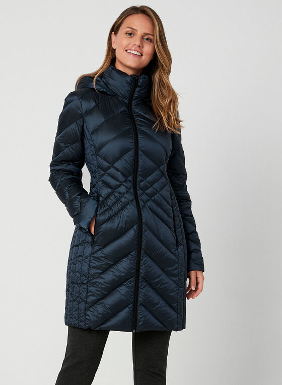 BCBGeneration - Manteau compressible à capuchon, Bleu