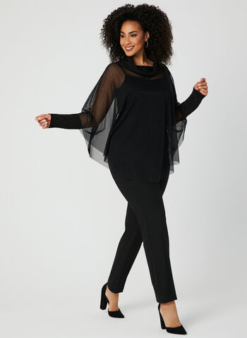 Joseph Ribkoff - Mesh Cowl Neck Top, Black, hi-res