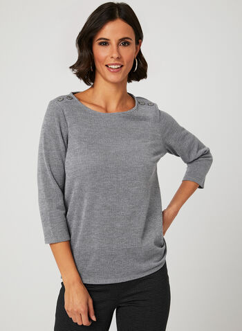 ¾ Sleeve Button Detail Top, Grey, hi-res
