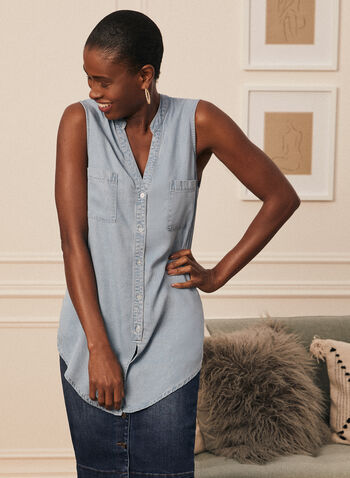 Sleeveless Denim Tunic Blouse, Blue,  blouse, tunic, sleeveless, denim, tencel, button front, pockets, v-neck, spring summer 2021