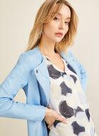 Blouse motif ronds et mousseline de soie, Bleu