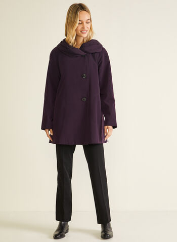 3-Season Hooded Coat, Purple,  coat, button, hood, asymmetric, fall winter 2020