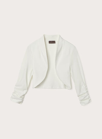 Shirred Sleeve Bolero, Off White,