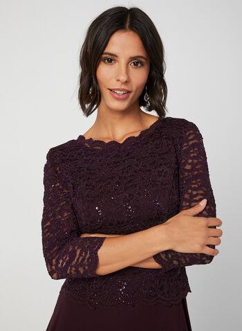 Robe à dentelle et sequins, Violet,  manches ¾, manches 3/4, dentelle, crochet, paillettes, mousseline, automne hiver 2019